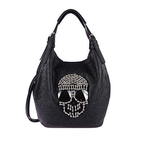 Damen Totenkopf XXL Tasche Strasssteine Sonnenbrille Brille Glitzer Bowling Handtasche Shopper XL (2xHenkel 39x32x20) (Handtasche Tote Design)
