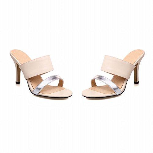 Mee Shoes Damen high heels open toe Slingback Pantoletten Aprikose