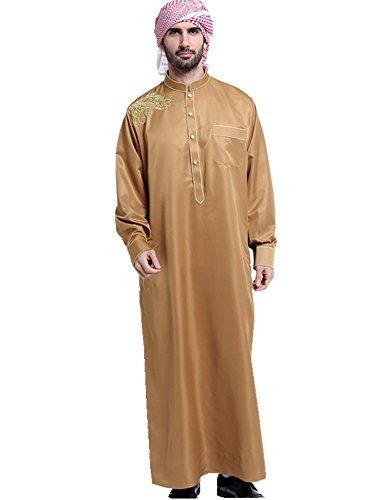 Dreamskull Muslim Abaya Dubai Muslimisch Islamisch Arab Arabisch Indien Türkisch Casual Kaftan Robe Kleid Kleidung Bestickt Dress Herren Männer ohne Kopftuch (XXL, Dunkelgelb) (Kleidung Aus Indien)