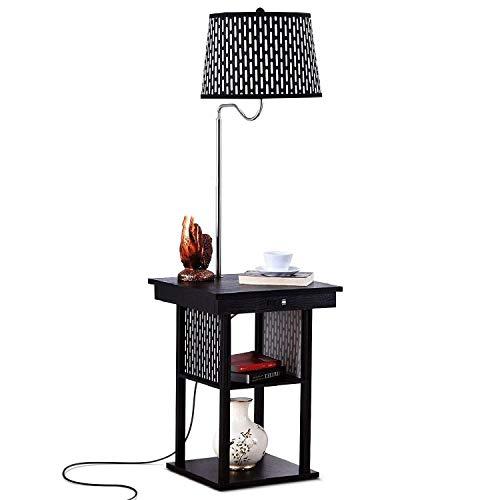 *Stehlampe Stehlampe, LED-Stehlampe mit USB-Ladeschnittstelle, einfache kreative Beleuchtung Persönlichkeit Nacht/Schlafzimmer/mit Trennwand Amerikanische Stehlampe (Zugschalter) Stehlampe gewölbt