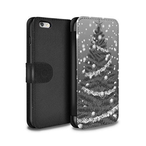 STUFF4 PU-Leder Hülle/Case/Tasche/Cover für Apple iPhone 6+/Plus 5.5 / Rot Muster / Weihnachts Tannenbaum Kollektion Grau