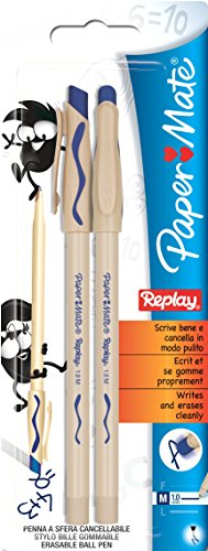 paper-mate-replay-stylo-a-bille-effacable-moyen-bleu-lot-de-2