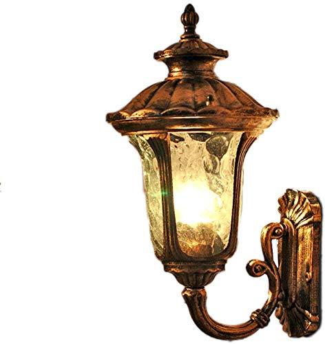 Europäische Wasserdichte Outdoor-Wand-Laterne Retro Bronze Antike Wand-Licht-Leuchter for Aisle Flur Balkon Hoftor Sicherheitswand-Licht-Lampe IP44 yppss (Color : Height 49cm) -