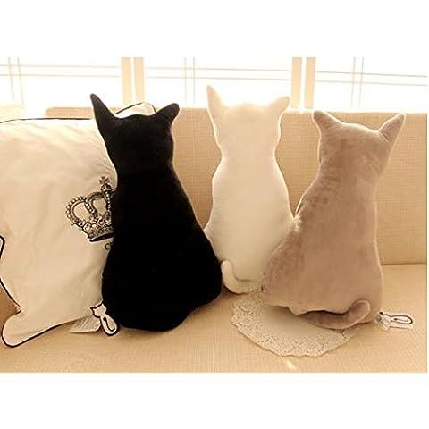 J & L 3d simulazioni Niedlich indietro gatto Cat cuscino decorativo peluche auto cuscino divano decorativa forma della testa cuscino auto divano sedia cuscino schienale Black