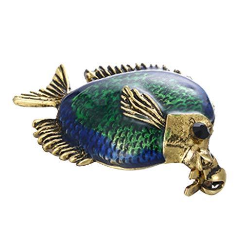F Fityle Unisex Brosche Kostüm Pins mit Bunt Kristall Ozean Fisch Brosche Muster ()