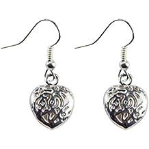 Bobury Pendientes de plata con forma de corazón para mujer Pendientes de plata con diseño plateado