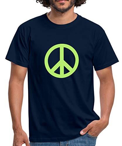 Spreadshirt Peace Symbol Hippie Männer T-Shirt, L, Navy