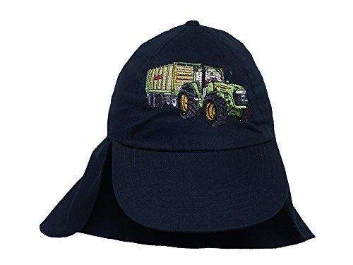 Zintgraf Jungen Legionärs Cap Kappe mit Nackenschutz - Traktor Stickerei Cap39 (dunkelblau)