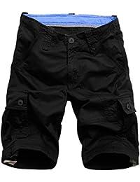 1f320f6662c40 Rmine Shorts Cargo Homme Coton Casual Bermudas Cargo avec Multi Poches  Pantacourt Outdoor Choisir (Taille