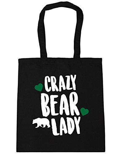 hippowarehouse-crazy-bear-lady-tote-shopping-gym-beach-bag-42cm-x38cm-10-litres