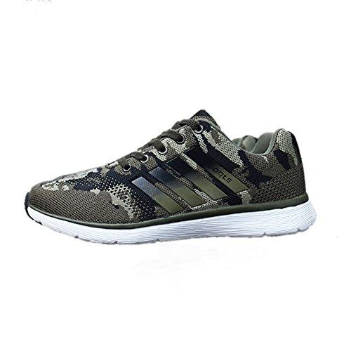 TORISKY Herren Damen Sportschuhe Laufschuhe mit Turnschuhe Camouflage Schuhe Sneaker (1808-Green38)