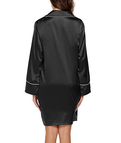 Keland Damen Nachthemd Viktorianisch T-shirt Negligee Luxus Nachtwäsche Lange Hülsen Sleepshirt mit Perlmuttknöpfe und Brusttasche Schwarz