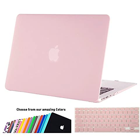 MacBook Air 13 Hülle Schale,iNeseon Ultra Slim Plastik Hartschale Tasche Case Cover Zubehör, US Rose Quartz und EU Transparent Tastaturschutz Schutzhülle für Apple MacBook Air 13.3 Zoll [Modell:A1466 und A1369] (Rose Quartz)