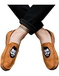 Overdose-Chaussures Mocassins Pointure Large en Daim Homme, Enfiler avec  Broderie Velours Cuir Marron 8b7a83c2546a