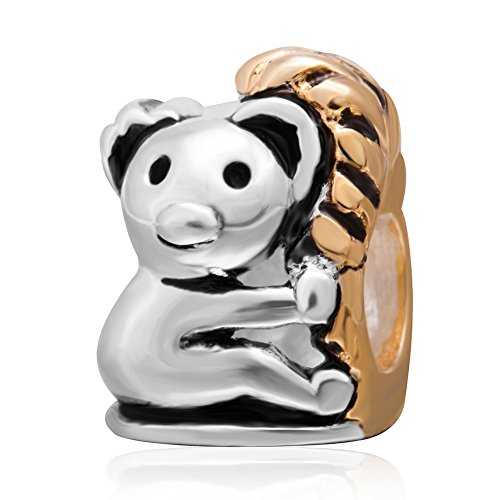 Colgante con diseño de koala de árbol de oro encanto genuino 925plata de ley Animal Bead para European marca pulsera joyas