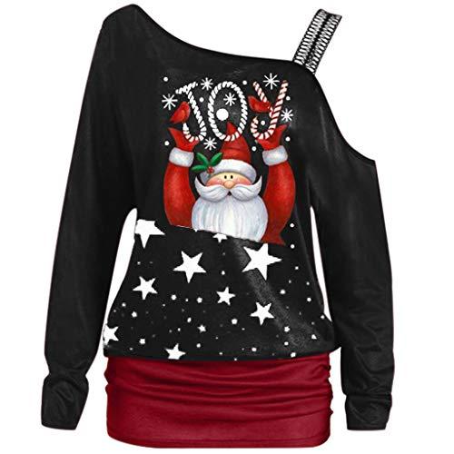 TIZUPI 2020 Neue Weihnachten Damen Bluse Sweatshirt Herbst Winter Weihnachten Brief Gedruckt T-Shirt Lange Ärmel Große Größen Damen Bluse Elegant Weihnachten Pullover Shirt(Schwarz,XXL)
