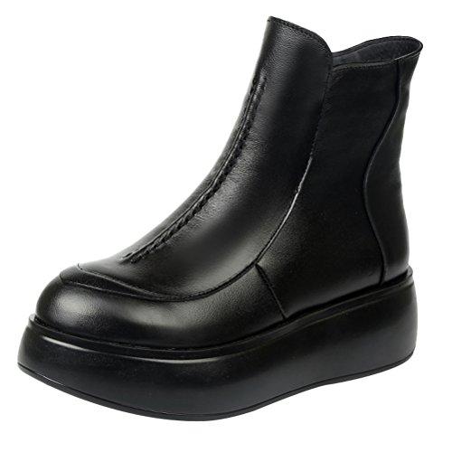 MatchLife Damen Leder Bootsschuhe Plateau Stiefel Style2-Schwarz