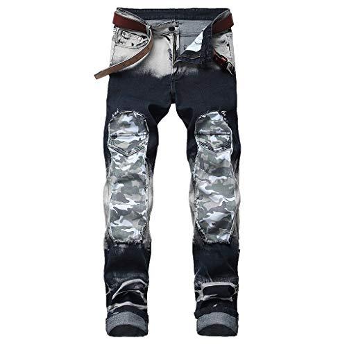 Qiuday Herren Hose Fashion Men Casual, Gefaltete Streifen, Slim Denim Pants Damen Skinny Jeans mit hohem Bund Jeanshose Jungen Fit Jeans Casual Leichter Stretch Essential (Gefaltet Bund)