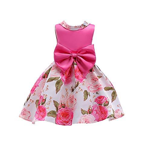 ChenXi Shop Girls Bowknot Printing Chiffon Princess Wedding Party Holiday Tutu Dresses(Rose Red,110) (Flats Red Ballet Mädchen)