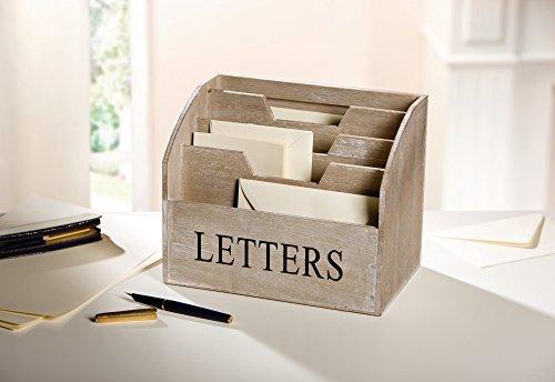 """Briefbox\""""Letters\"""" aus Holz, grau, 4 Fächer, Post Organizer"""