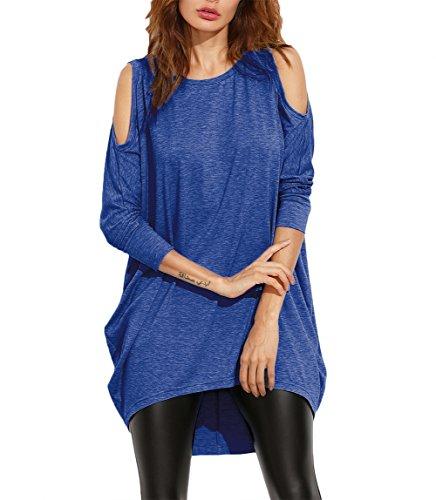 Damen Schulterfrei lose Langarm Dünne Batwing Oversize Sexy Oberteile Shirts Tops Minikleid (40, Blau)