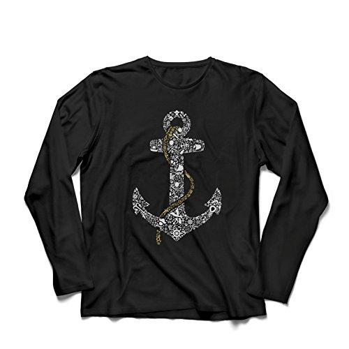 lepni.me Langarm Herren t Shirts salziger Seemann-Anker, Seematrosen-Seemann-Hemd, Segel- und Yachtingkleidung (X-Large Schwarz Mehrfarben) (Vest Life Marine)