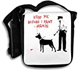 Stop Me Before I Paint Again Police Man Black Dog Schultertasche