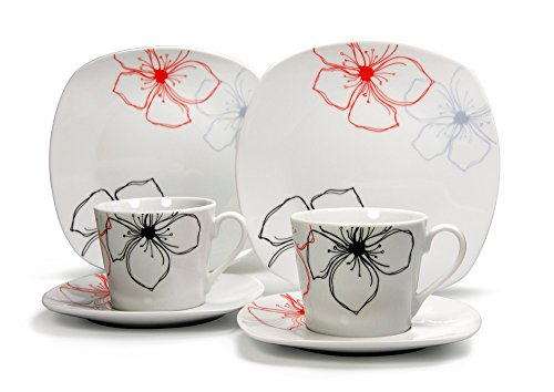 CreaTable Kaffeeservice TROPICAL FLOWERS 18-tlg aus Porzellan