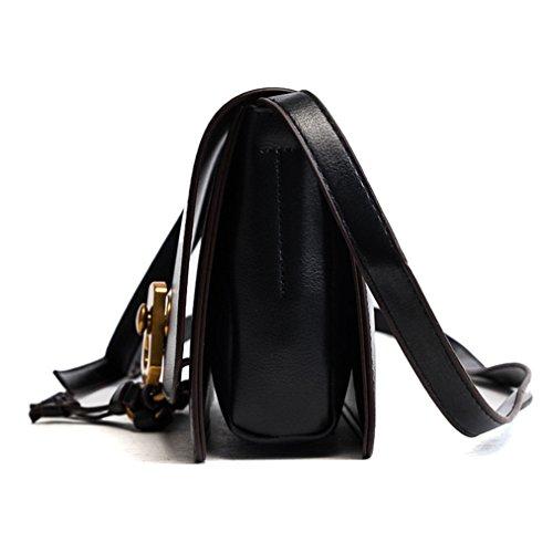 Frauen kleine handtasche Umhängetasche Crossbody tasche mit schloss Schwarz