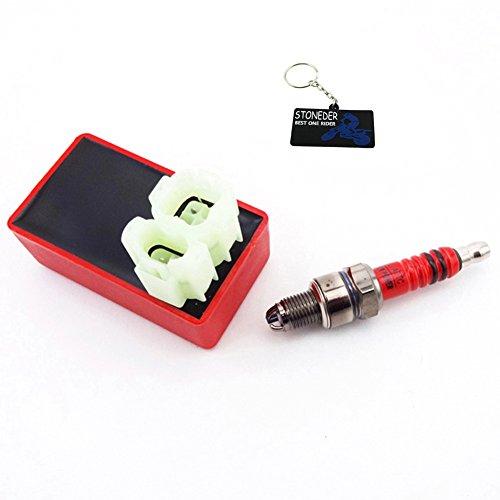 STONEDER rosso 6pin AC accensione CDI 3elettrodi candela per 50cc 125cc 150cc ciclomotore scoot