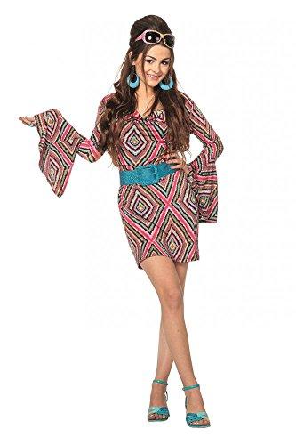 shoperama 70er Jahre Hippie Kleid Pink/Schwarz für Seventies Kostüm , Größe:34