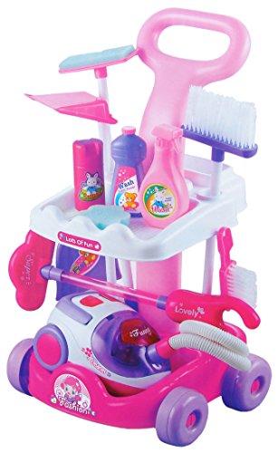 Reinigungswagen in pink mit viel Zubehör Kleinkind-mädchen-besen-set