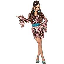 shoperama 70s Hippie Dress Pink Black Fancy Dress Seventies 155ed5f1a51