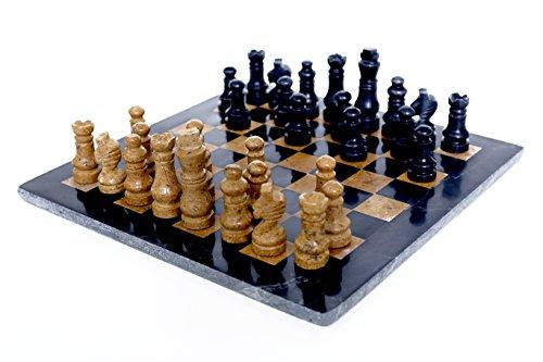 RADICALn komplett handgefertigt original marmor schachbrett spiel set zwei spieler voll schach spieltisch gesetzt (blackngold) - RADICALn Completely Handmade Original Marble Chess Board Game Set Two Players Full Chess Game Table Set (BLACKNGOLD)
