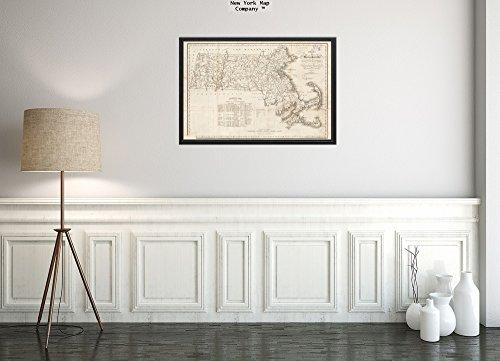 New York Map Company 1830 Karte von Massachusetts mit den Grenzlinien jeder Stadt und des Countys - zusammengestellt aus dem historischen antiken Vintage-Stil, fertig zum Rahmen.
