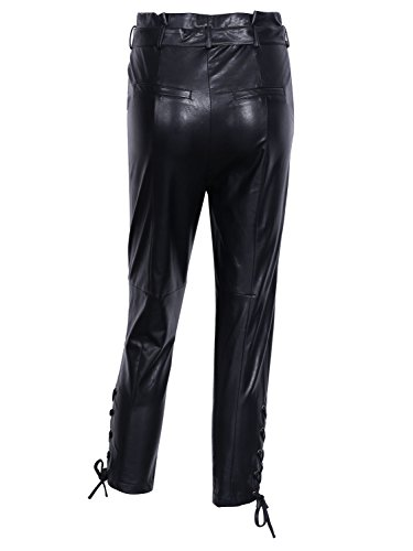 Simplee Apparel Damen Elegant High Waist Lace up Leder PU Hosen Straight Pants Trousers mit Gürtel Schwarz Schwarz