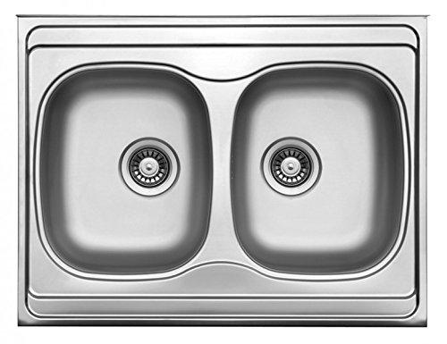 Auflagespüle Edelstahl, Edelstahlspüle 80x60cm, Spüle, Küchenspüle, Doppelspüle -
