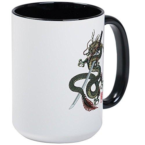 CafePress - Dragon Katana große Tasse - Kaffeetasse, 425 ml Kaffeetasse, Weiß Large White/Black Inside - Tattoo Shogun