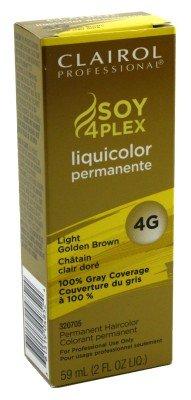 Clairol Colorant permanent Soy4Plex Liquicolor - Couverture du gris à 100% - Châtain clair doré 4G - 59 ml