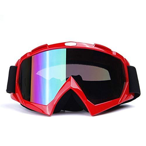 Erwachsene Männer und Frauen Motocross Geländefahrzeuge Offroad-Brille Brille mit bunten / transparenten Linsen Outdoor-Sportarten Ski Snowboard Klettern Camping Motorrad Rennhelm Brille@Heller rote
