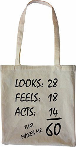 Mister Merchandise Tote Bag 60 Years - Looks Feels Acts Borsa Bagaglio , Colore: Nero Naturale