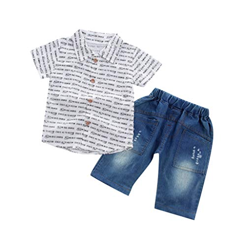 JUTOO Kleinkind Baby Boy Gentleman Brief Kurzarm Shirt + Denim Shorts Set Tuch (Weiß 3,80)