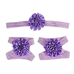 Feitong(Tm) Hot Foot Flower Barefoot Sandals + Headband Set For Baby Infants Girls