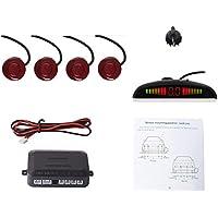 Cocar Coche Auto Vehículo Visual Reserva Radar Sistema con 4 Estacionamiento Sensores + Distancia Info Vídeo Salida + Sonido Advertencia (Fiat Rojo Color)