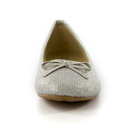 Kinder Mädchen glitzernden Diamante Perlen flache Ballerinas Silber
