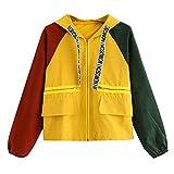 Damen Mantel, Lonshell Cord Farbe Patchwork Windbreaker Oversize Jacke Frühling Mantel (XL, Orange)