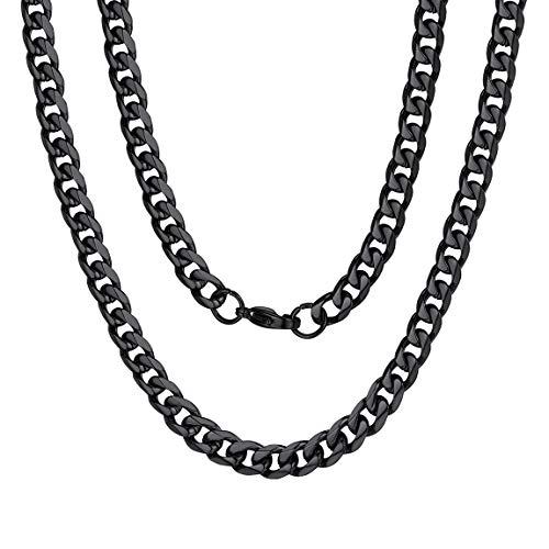 ChainsPro Männer Kette Schwarz, Panzerkette Engelsrufer Damen Ankerkette 925er-Sterlingsilber Rosévergoldet ohne Anhänger Länge 46cm