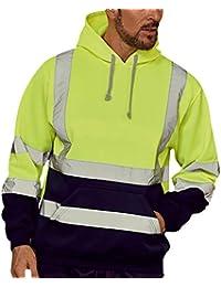 Hombres Tops Trabajo En La Carretera Alto Visibilidad Pull-Over Manga Larga con Capucha Sweatshirt A