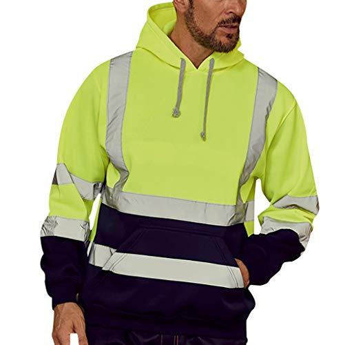 Auied Herren Tops Langarm-Kapuzenpullover Road Work Hochsichtbares Sweatshirt