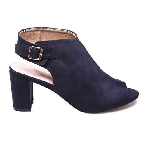 La Modeuse - Sandales en suédine à talons épais Bleu